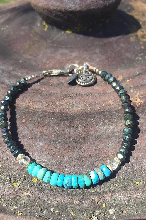 Kingman Turquoise and spinel bracelet