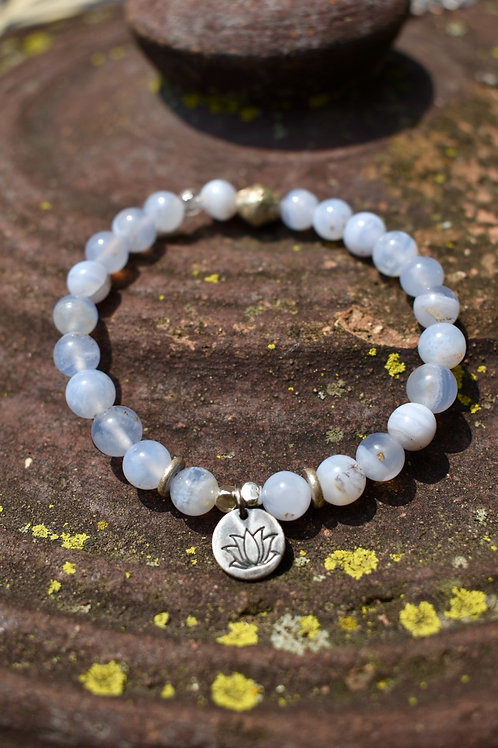 Blue Lace Agate and Lotus Karen Hill Tribe Silver bracelet