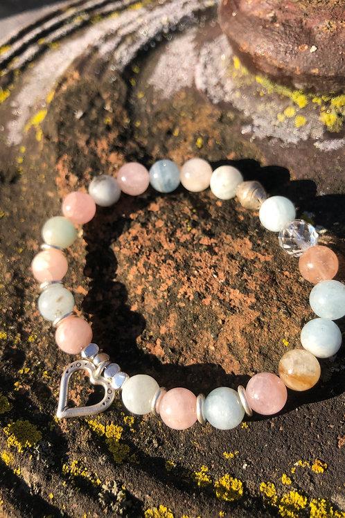 Morganite with Aquamarine, Beryl and Karen Hill Tribe Silver Heart bracelet