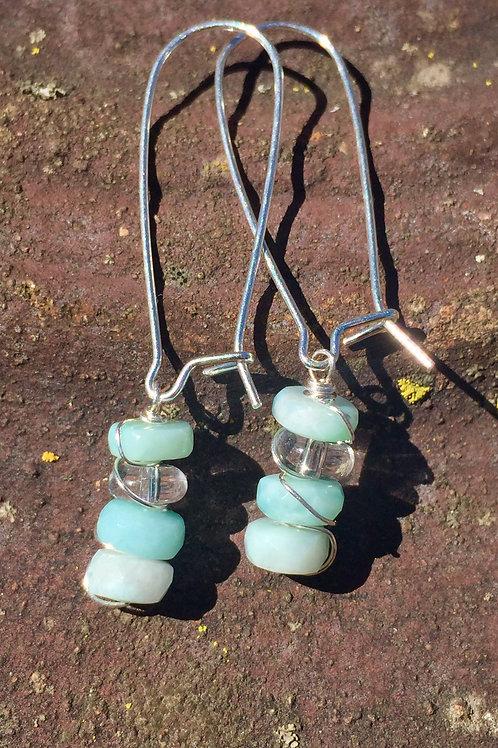 Larimar and Quartz earrings