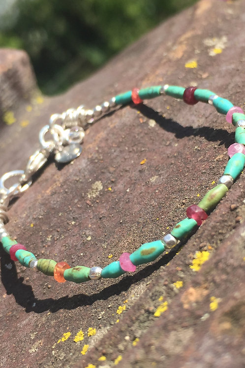 Pink Sapphire and Turquoise bracelet