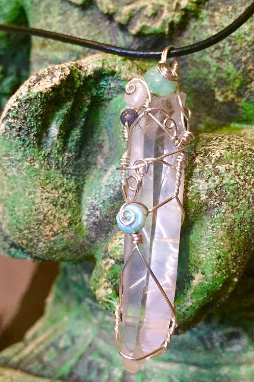 Lemurian Crystal in Sterling Silver