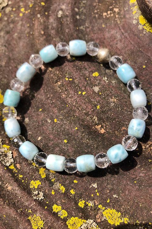Larimar Barrel and faceted quartz bracelet