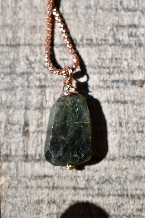 Moss Aquamarine and Rose Gold Necklace