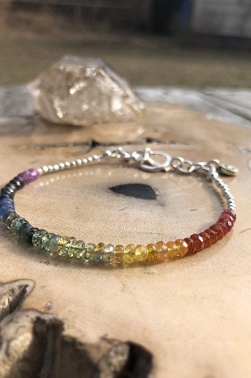 rainbow sapphire and silver bracelet