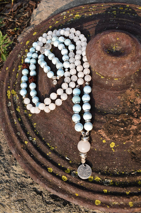 AiliA Premium Hand Knotted Mala without tassel: Larimar and Moonstone