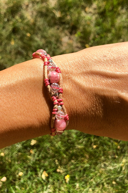Rhodochrosite, Karen hill tribe silver and leather bracelet