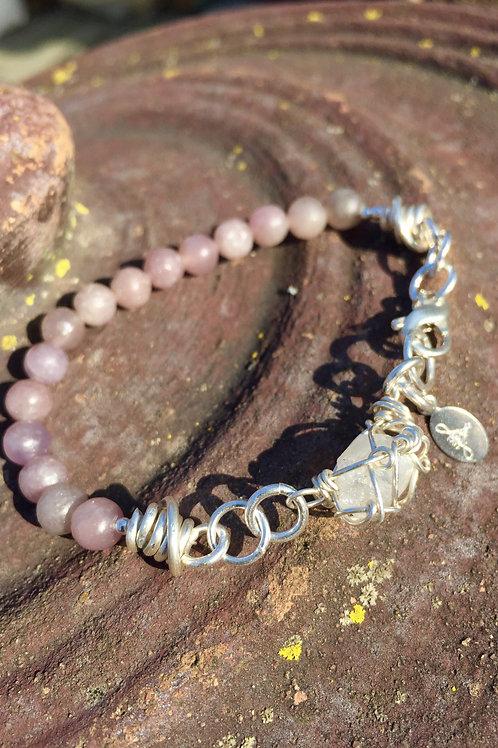 Angel Aura Quartz & Lepidolite Wrist Amulet