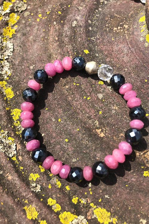 Pink Sapphire and Black Spinel bracelet