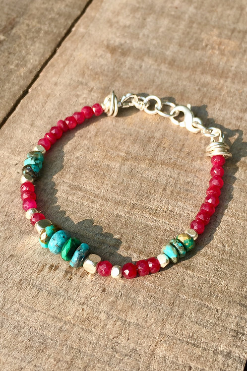 Ruby and Kingman Turquoise bracelet (Karen Hill Tribe Silver)