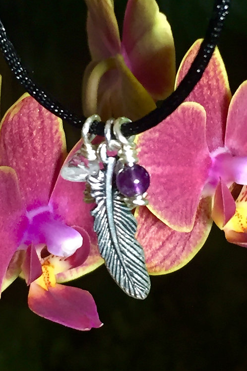 Pewter Feather and Amethyst: peace & balance