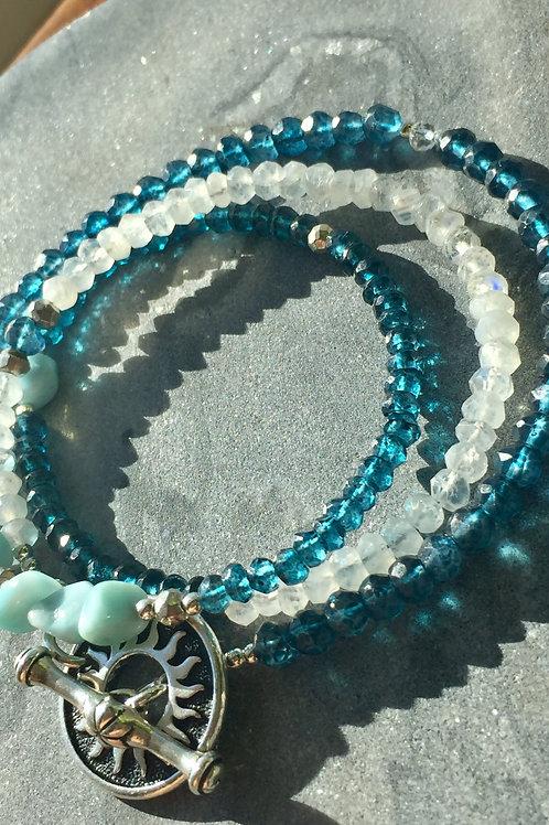 Larimar and London Blue Quartz Wrap bracelet/necklace