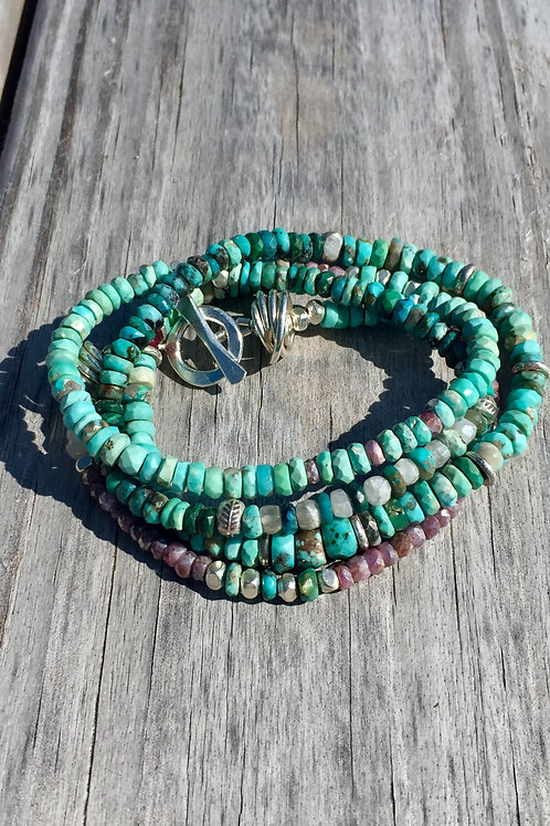 Kingman Turquoise, Ruby and sapphire wrap (Karen Hill Tribe Silver)