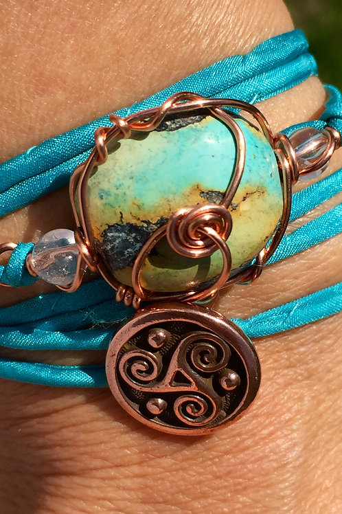 Turquoise silk cord wrap bracelet