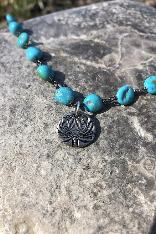 Sleeping Beauty Turquoise chain with Lotus Charm