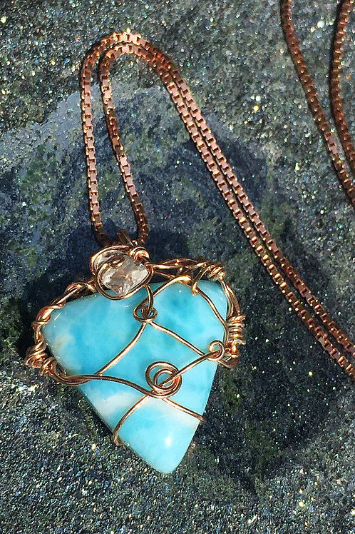 Rose Gold Larimar necklace