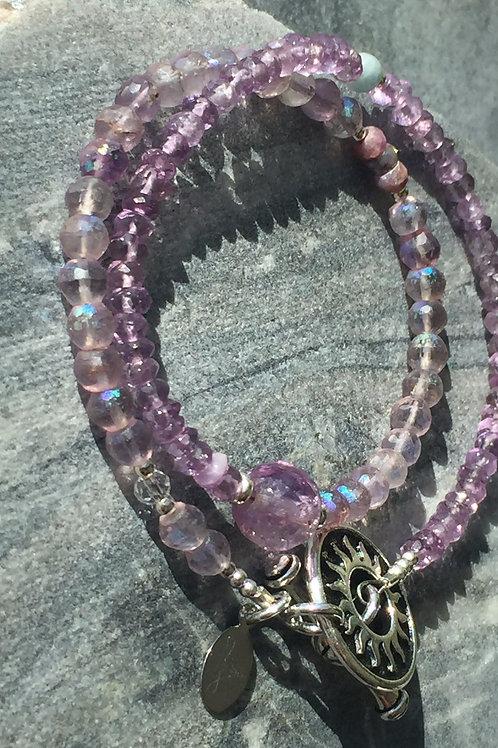 Amethyst, Ametrine, Aquamarine and Ruby wrap bracelet