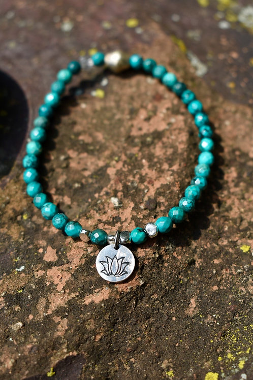 Turquoise and Lotus Karen Hill Tribe Silver bracelet