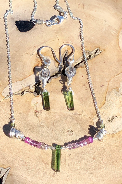 Watermelon Tourmaline & Pink and Green Sapphire necklace