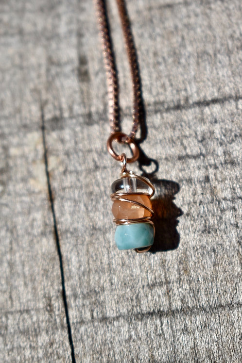 Rose Gold Larimar and Moonstone necklace