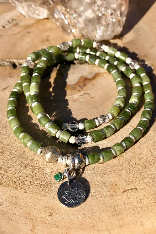 Irish Connemara marble triple wrap bracelet/ necklace