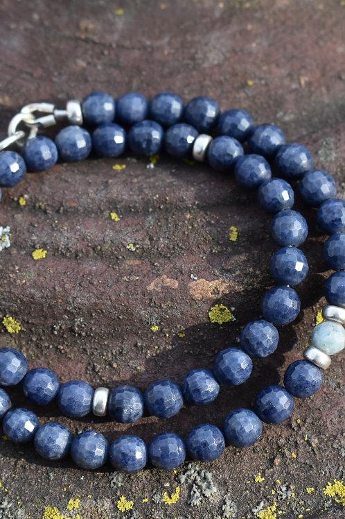 Blue sapphire and aquamarine double wrap bracelet