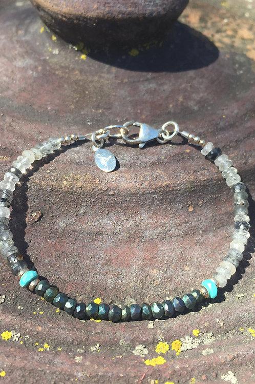 Turquoise, Tourmalinated quartz & Spinel bracelet
