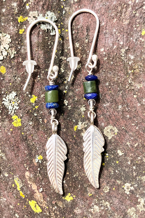Feather earrings: Lapis and Connemara Marble