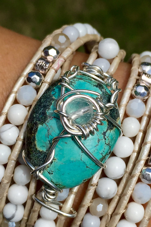Turquoise with Howlite Bead Wrap Wrist Amulet