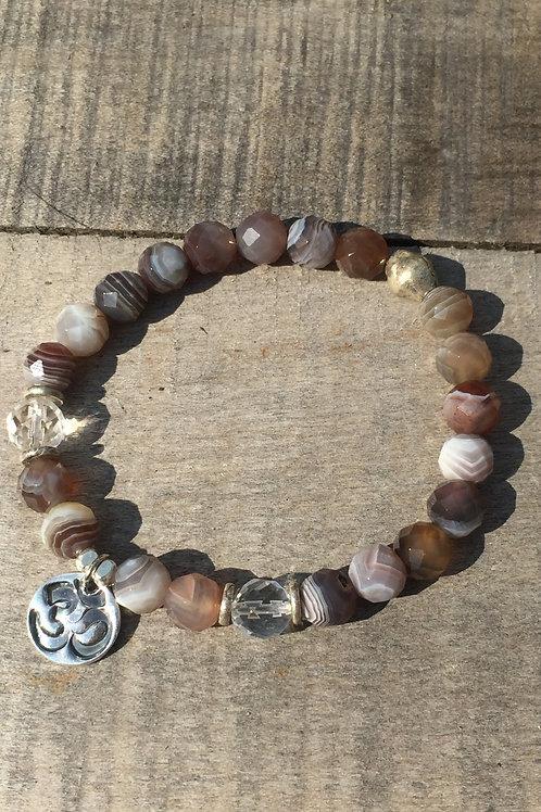 "Strength and Inner Peace Bracelet: Botswana Agate with ""Om"""