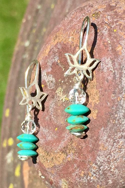 Turquoise Lotus Earrings (KarenHill Tribe Silver)