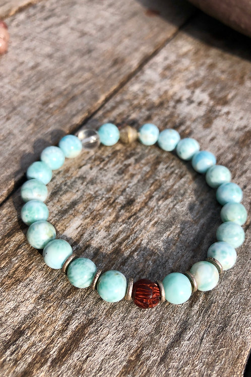 Larimar with hand carved Rosewood Lotus bead and karen hill tribe silver