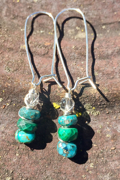 Kingman Turquoise and quartz earrings