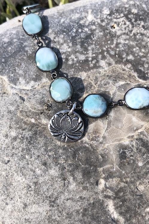 Larimar chain with Pewter Lotus Charm.
