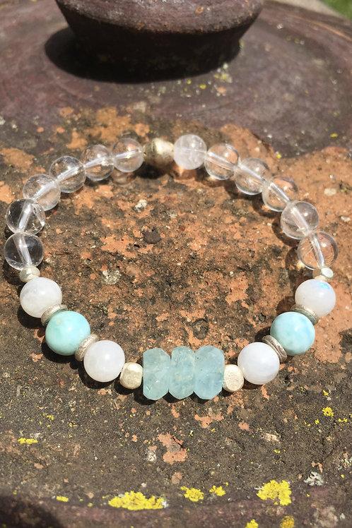 Aquamarine, Larimar and Moonstone bracelet
