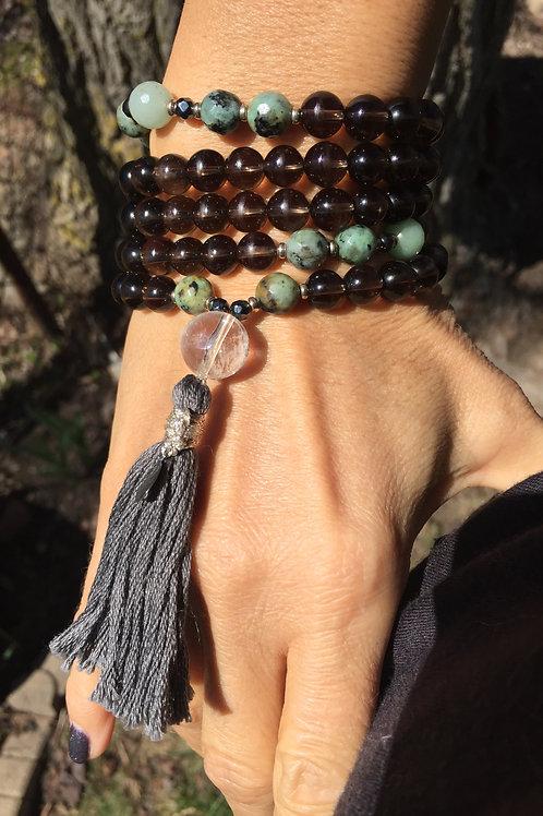 Smokey Quartz & African Turquoise Mala