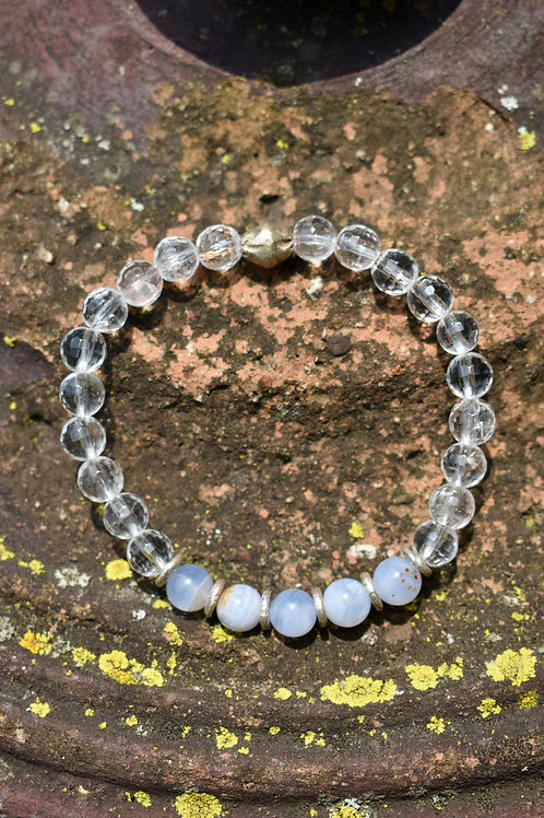 Blue Lace Agate, Quartz and Karen Hill Tribe Silver bracelet