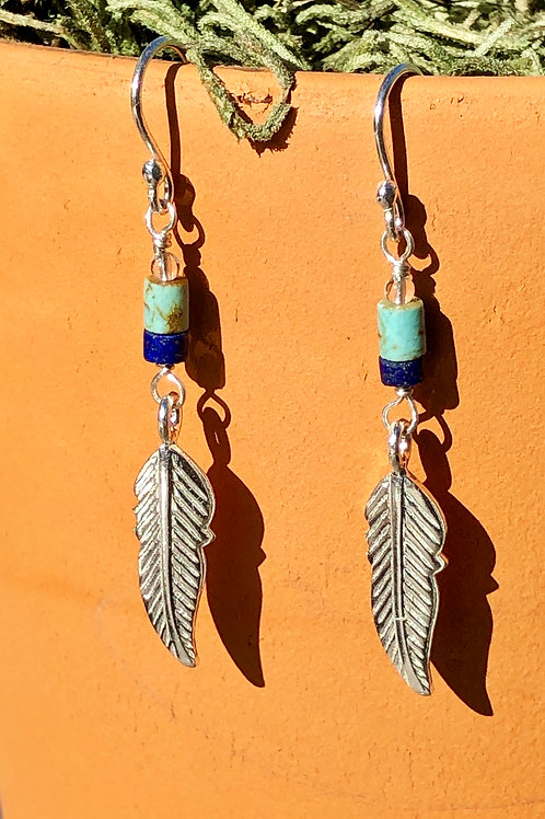Turquoise and Lapis Lazuli Earrings (KarenHill Tribe Silver)