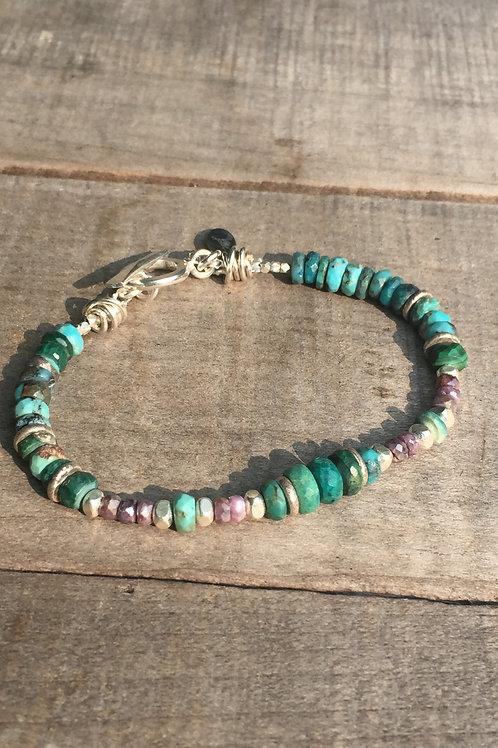 "Kingman Turquoise and ""diamond"" Ruby bracelet (Karen Hill Tribe Silver)"