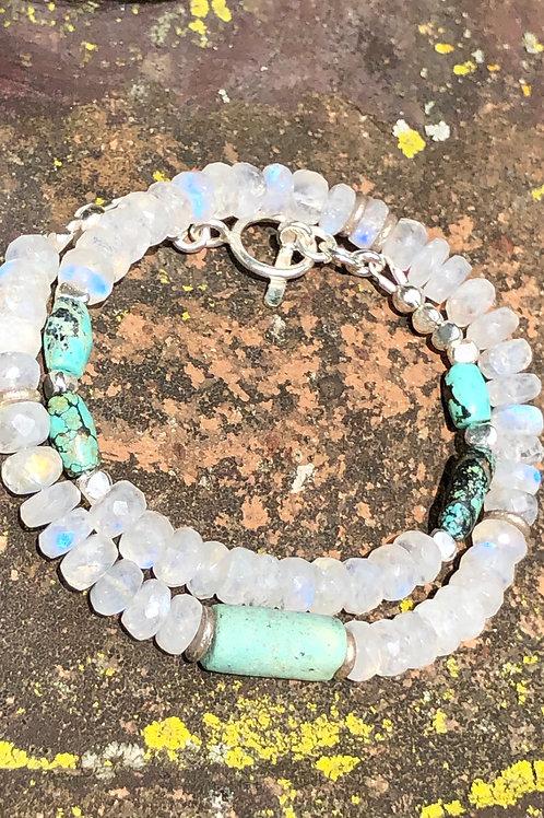 Rainbow moonstone, turquoise and Karen Hill Tribe Silver bracelet