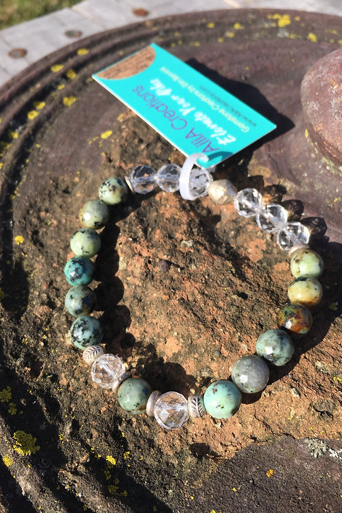African Turquoise with Leaf beads
