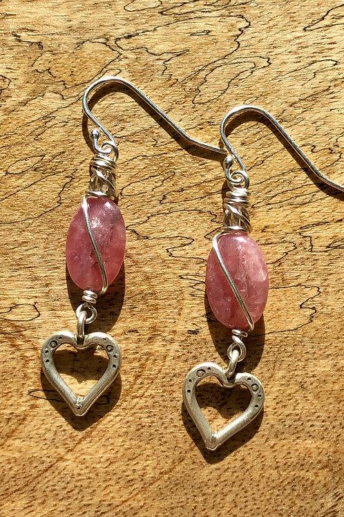 Rhodochrosite heart earrings