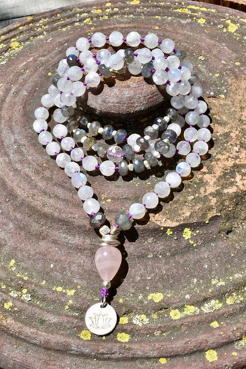 AiliA Premium Hand Moonstone Mala Necklace
