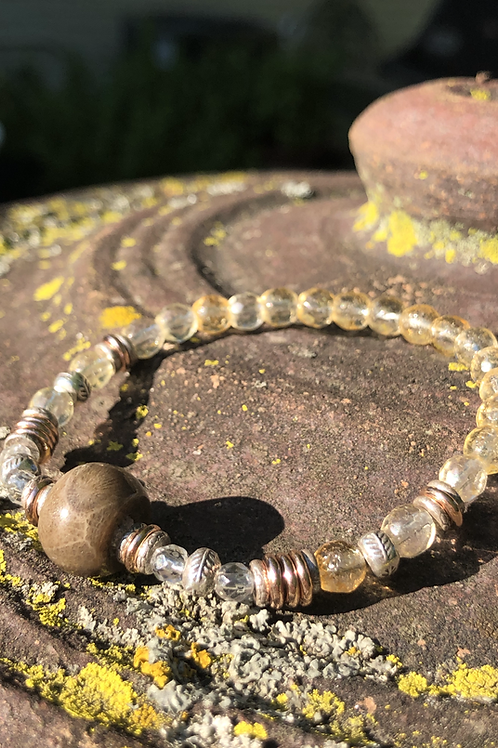 Petoskey Stone and citrine bracelet