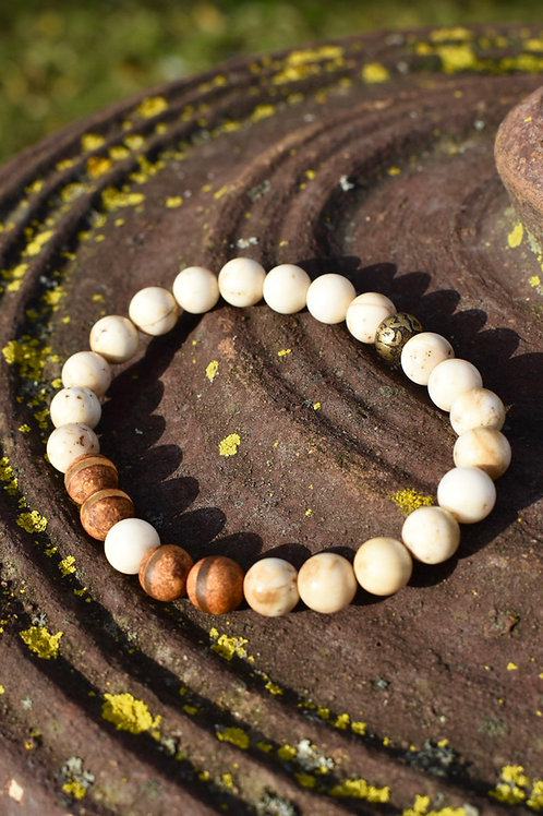 Unisex Tibetan Jasper and Tibetan Agate mantra bracelet