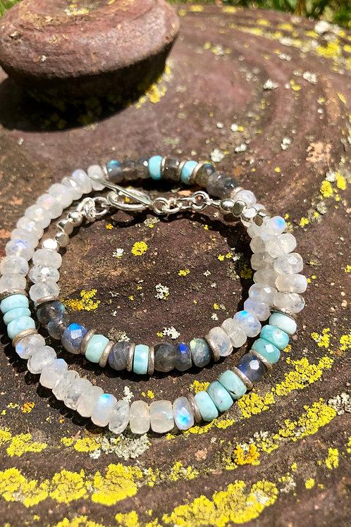 Rainbow moonstone, labradorite and larimar bracelet