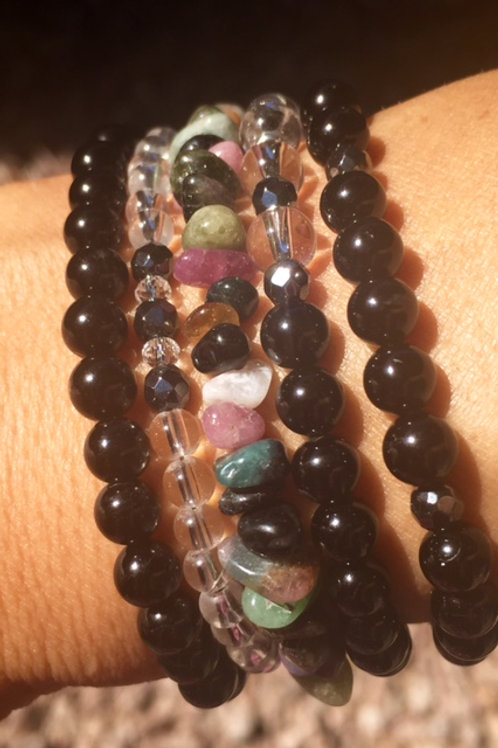 Tourmaline wrist amulet and necklace