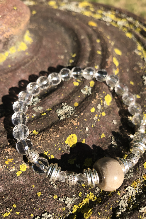 Petoskey Stone and Silver bracelet