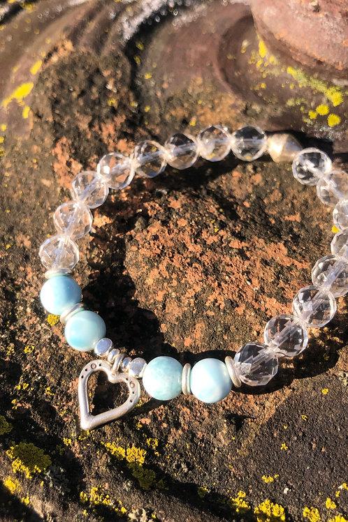 Larimar and Karen Hill Tribe Silver Heart bracelet