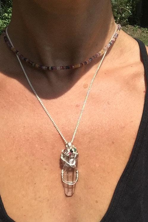 Plasma Quartz with sapphire and emerald